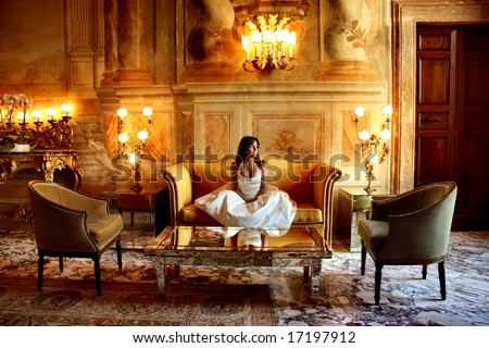 a woman in  a luxury hotel - stock photo