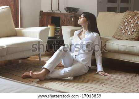 a woman in a sitting room