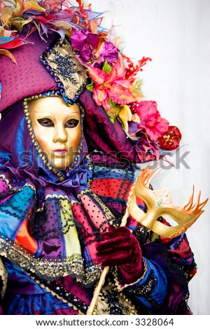 A woman in costume at the Venice Carnival (6) - stock photo