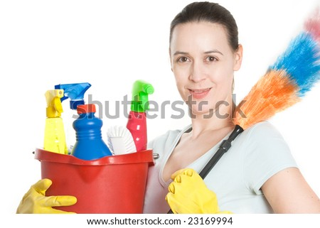 A woman in domestic household role on white - stock photo