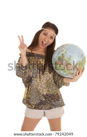 A woman in her hippie outfit wanting world peace.