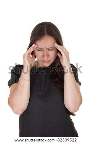 A woman in lots of pain as she suffers from a big migraine. Migraine attack. - stock photo