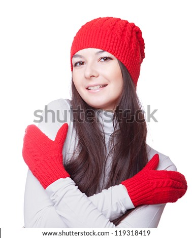 a woman in  red cap embrace yourself..