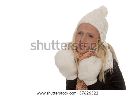 A woman in winter - stock photo