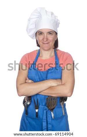 A woman is dressed in cooking clothing and isolated on white - stock photo
