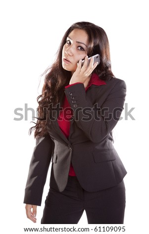 A woman is on her cell phone and mad. - stock photo