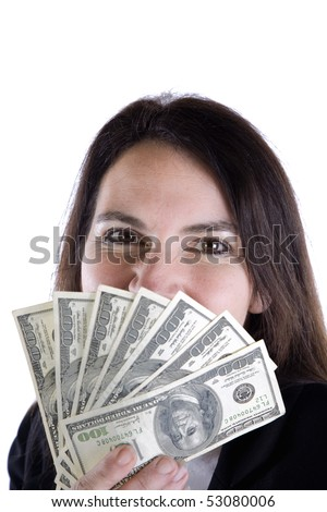 A woman is peeking over a handful of fanned money! - stock photo