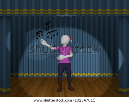 A woman is singing a song in the theater - stock photo