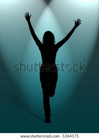 A woman jumping for happiness in the light