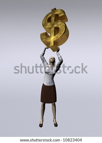 A woman lifts a huge dollar - stock photo