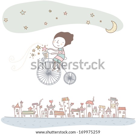 A woman on a bicycle flying over a city.