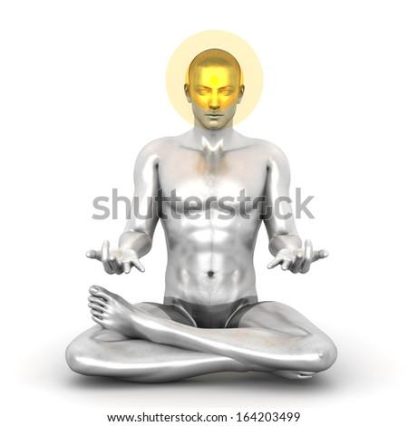 A woman performing a Ajna chakra meditation. 3D rendered illustration.  - stock photo