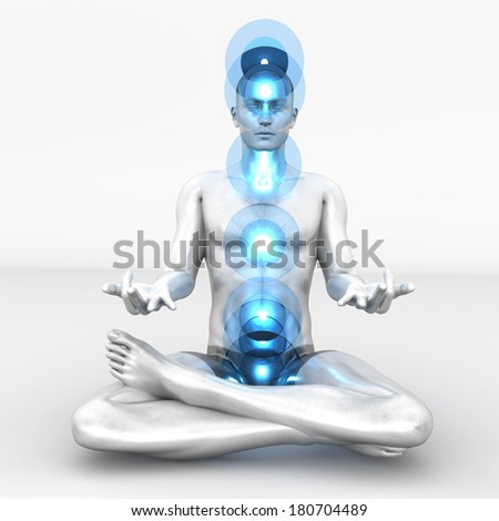A woman performing a full chakra meditation. 3D rendered illustration.  - stock photo