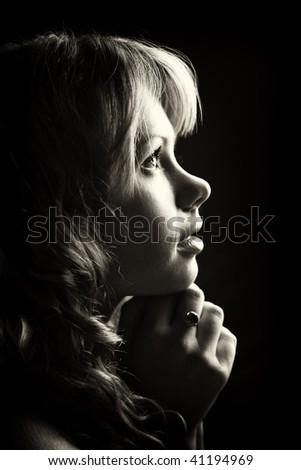 A woman profile - stock photo