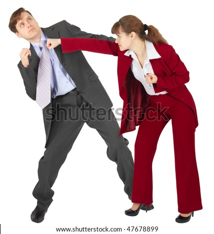 A woman punches a man - an unexpected denouement dispute - stock photo