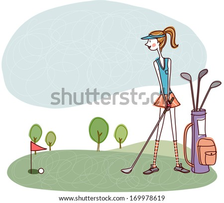 A woman putting a golf ball into a hole. - stock photo