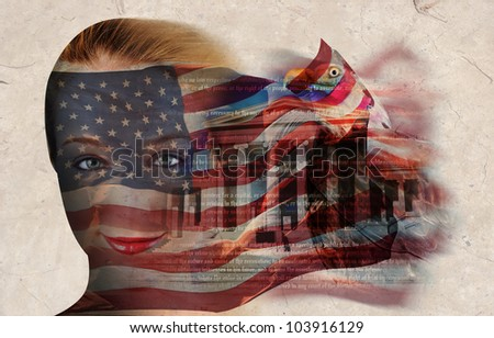A woman's face has the american flag on it with a collage of a government building and bald eagle. The flag is blowing on a texture background. - stock photo