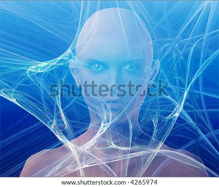A woman's face, surrounded by information Blue background - stock photo