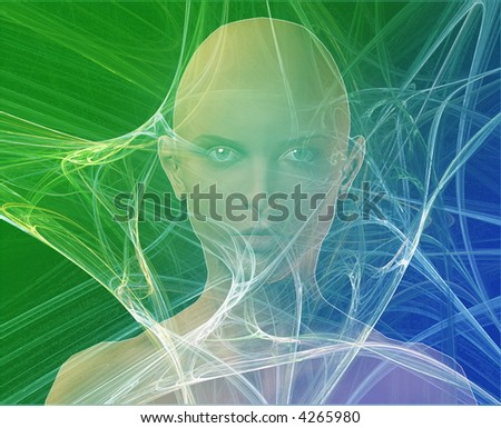 A woman's face, surrounded by information Green background - stock photo