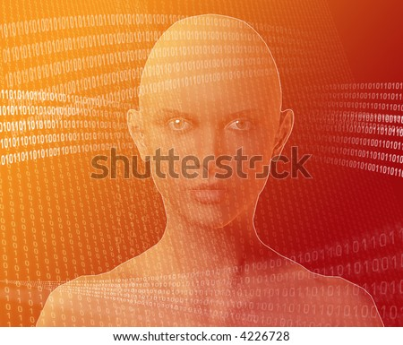 A woman's face, surrounded by information Orange background - stock photo