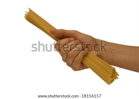 A woman's hand holding a portion of spaghetti isolated on white. - stock photo