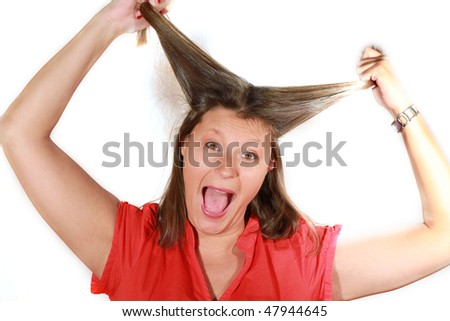 A woman screaming with crazy expression