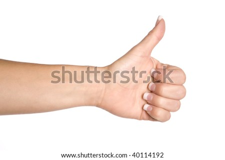 A woman showing her expression of yes by having her thumb up. - stock photo