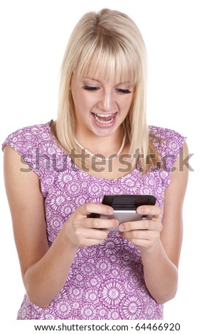 a woman showing her personality by texting something funny. - stock photo