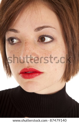 A woman showing her serious face. - stock photo