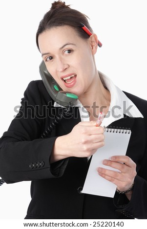 A woman simulating financial trading activity on a white background. - stock photo