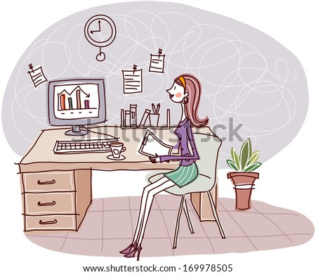 A woman sitting at a desk looking up at the clock.