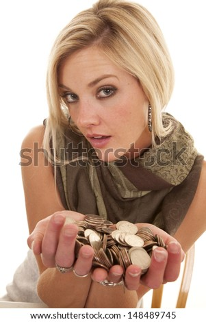 A woman sitting in a chair with two hands full of money. - stock photo