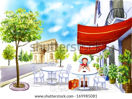 A woman sitting outside at a white table. - stock photo
