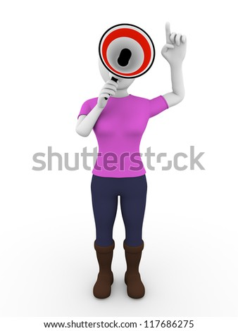 A woman speaking through a megaphone in red