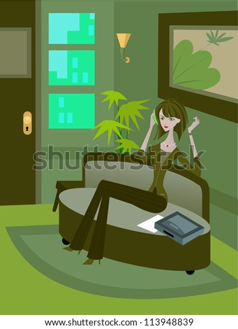 A woman talking on phone while sitting on couch - stock photo