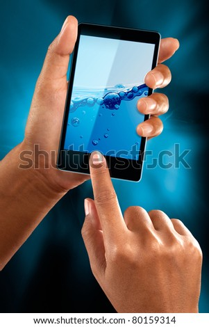 A woman use a mobile phone