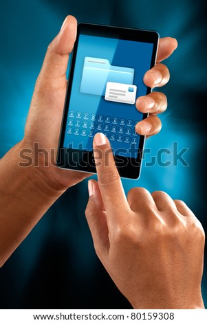 A woman use a mobile phone to check a mail - stock photo