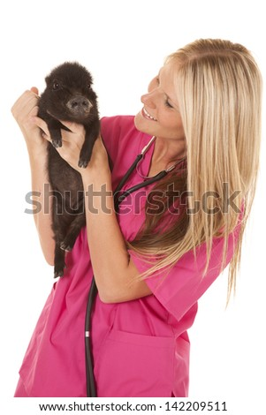 A woman vet in her pink scrubs holding on to a pig looking at her. - stock photo