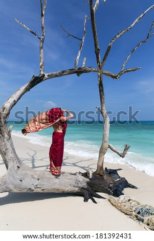 A woman wearing a saree stands on a washed up remains of a tree looking out to sea in the Andaman islands.