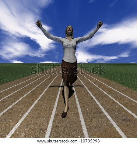 A woman wins the race - stock photo