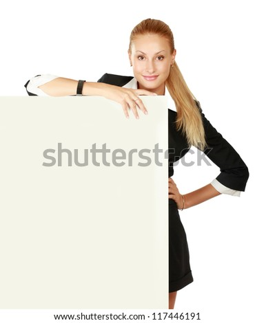 A woman with a blank, isolated on white background - stock photo