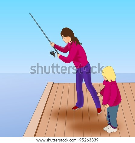 A woman with a child who fish from  a pier. - stock photo
