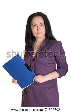 A woman with a folder.