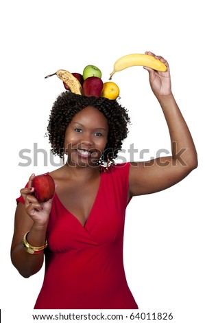 A woman with a fruit bowl head - stock photo