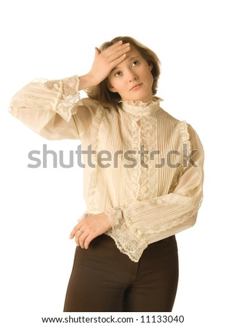 A woman with a headache, white background - stock photo