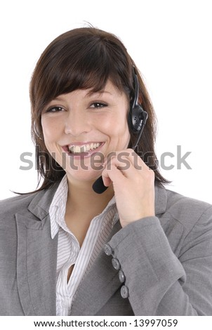 a woman with a headset in a callcenter or a office