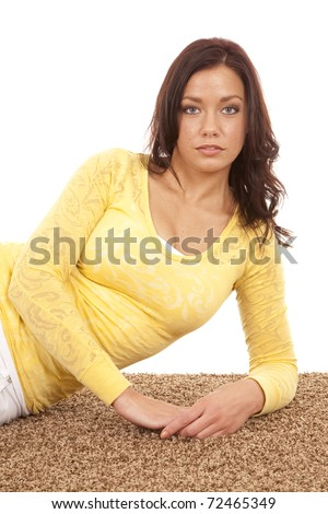 A woman with a serious expression looking. - stock photo