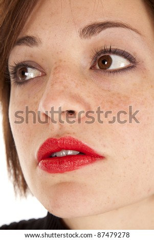 a woman with a serious expression on her face. - stock photo