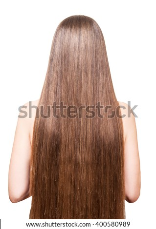 A woman with beautiful brown long hair isolated on white background.