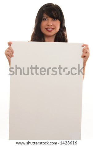A woman with blank sign ready for text or imagery. eg advertising, sales, endorsement, marketing, protest,